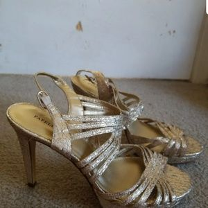 Gold shimmery heels size 6.5